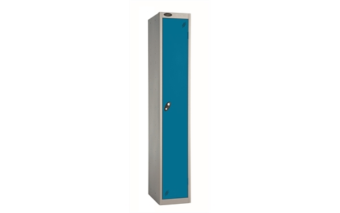 1 Door - Full height steel locker - FLAT TOP - Silver Grey Body / Blue Doors - H1780 x W305 x D305 mm - CAM Lock