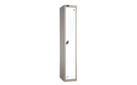 1 Door - Full height steel locker - FLAT TOP - Silver Grey Body / White Doors - H1780 x W305 x D305 mm - CAM Lock