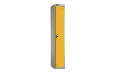 1 Door - Full height steel locker - FLAT TOP - Silver Grey Body / Yellow Doors - H1780 x W305 x D305 mm - CAM Lock