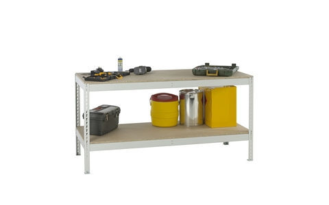 Stockrax Workbench with full lower shelf - H928mm x W1800mm x D750mm - Chipboard Deck - Light Grey