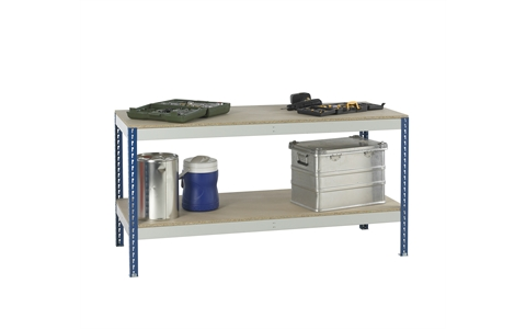 Stockrax Workbench with full lower shelf - H928mm x W2400mm x D750mm - Chipboard Deck - Blue